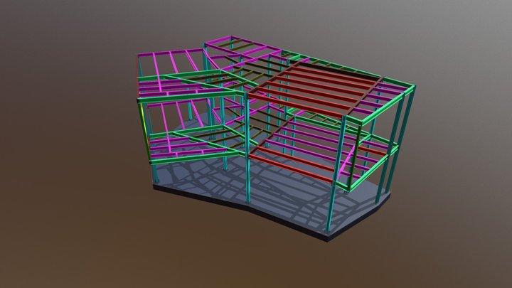 Job N27 2 Storey Steel Structure 3D Model