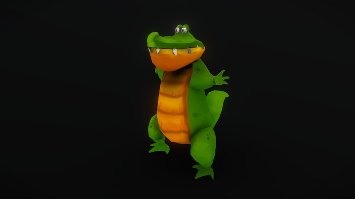 Lowpoly Gator Crock 3D Model