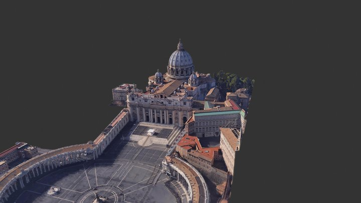 St. Peter's Square & St. Peter's Basilica 3D Model