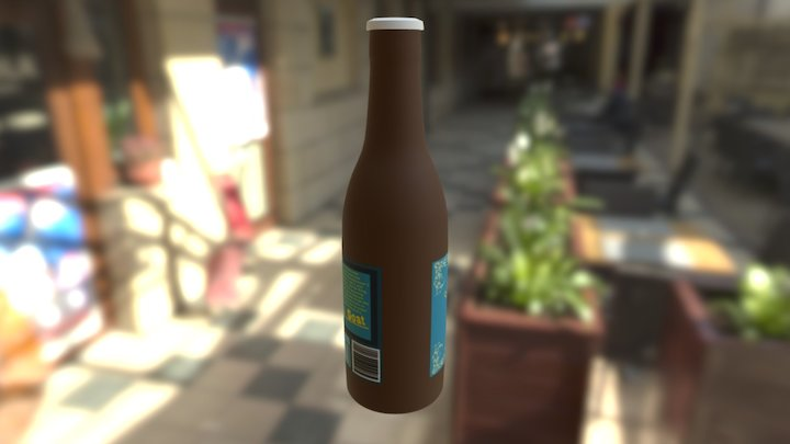Golden Goat Beer Bottle 3D Model