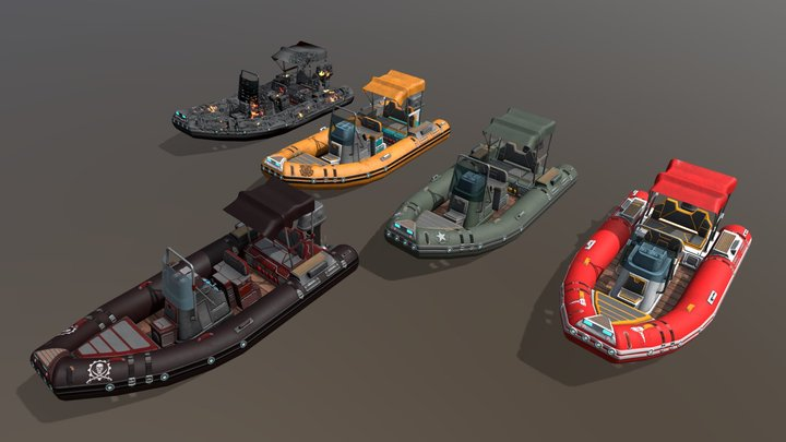 Low poly Zodiac boat set 3D Model