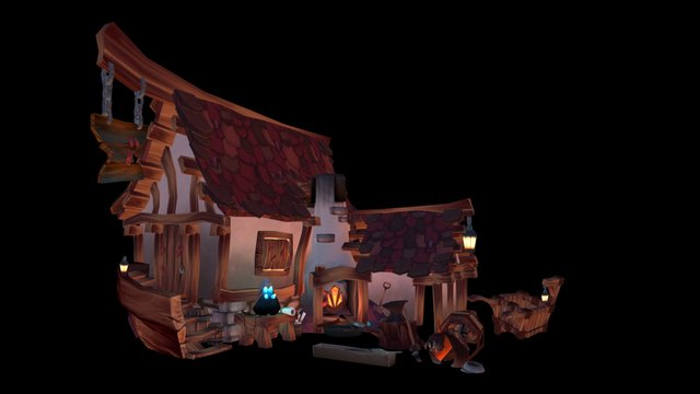 Blacksmith House with added Props 3D Model