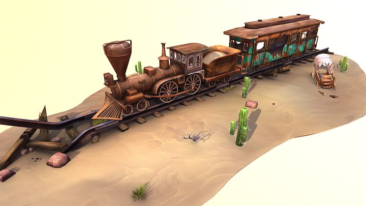 Derelict train scene game Goliath 3D Model