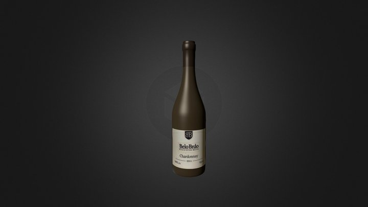 wine bottle Chardonnay belo brdo 3D Model