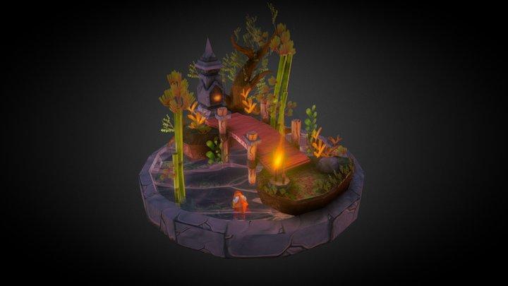 A Peaceful Cemetery Graveyard 3D Model