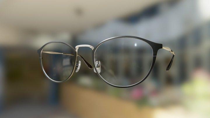 Generic Titanium Semi-Rounded Glasses (Black) 3D Model