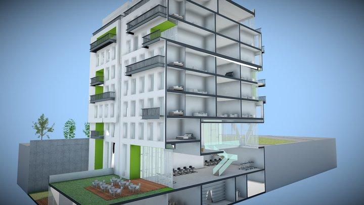7 Story Building Model 3D Model