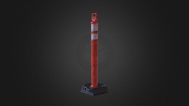 Orange Safety Post 3D Model