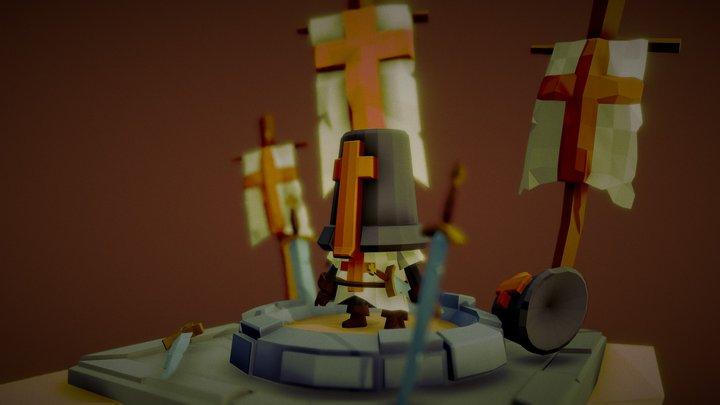 Lowpoly Crusader Chibi 3D Model