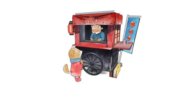 Takoyaki Stall, Original Art by @Dliok 3D Model