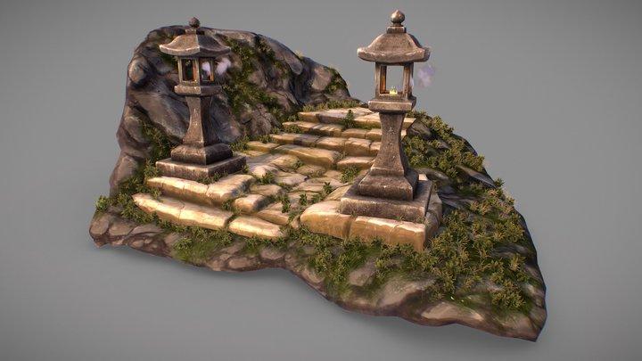 Ogon Shrine stairs 3D Model
