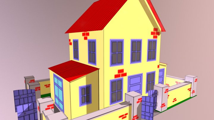Yellow House With Yard Paper Model 3D Model