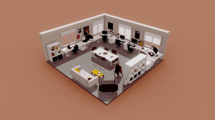 Lowpoly Office 3D Model 3D Model