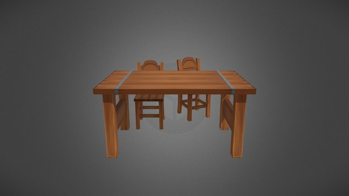 Handpainted Chair & Table 3D Model