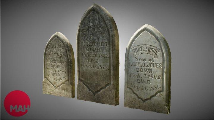Mary, Albert, and Rholandus Jones Tombstones 3D Model