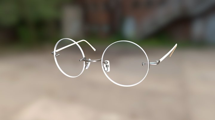 Generic Rim-less Rounded Glasses (Silver) 3D Model
