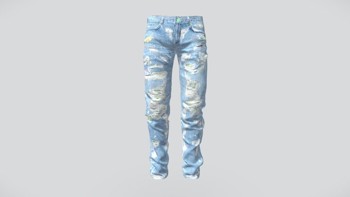 Less Jeans Neon Green Embroidered 3D Model