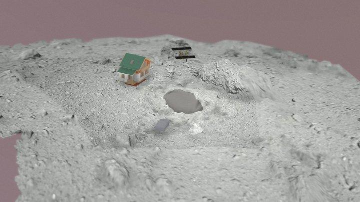 Ryugu + Hayabusa 2 + house 3D Model