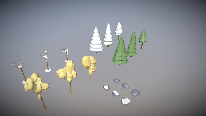 Low Poly Trees mini-asset FREE DOWNLOAD 3D Model