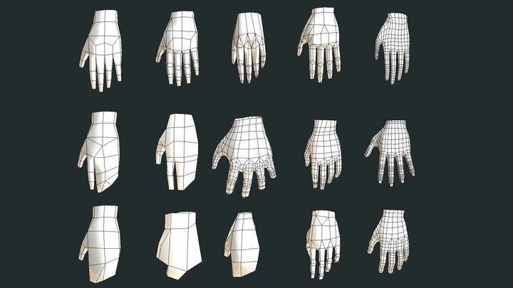 low poly hands 3D Model
