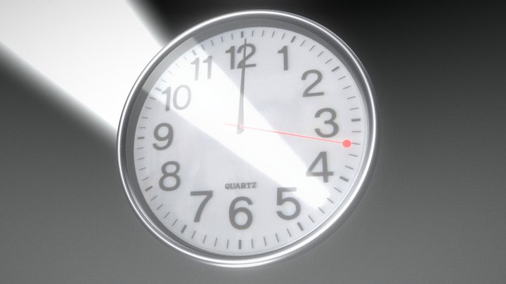Clock animation one hour in fourty seconds 3D Model