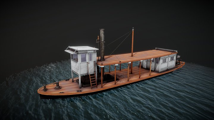 50 ft steam ship river. 3D Model
