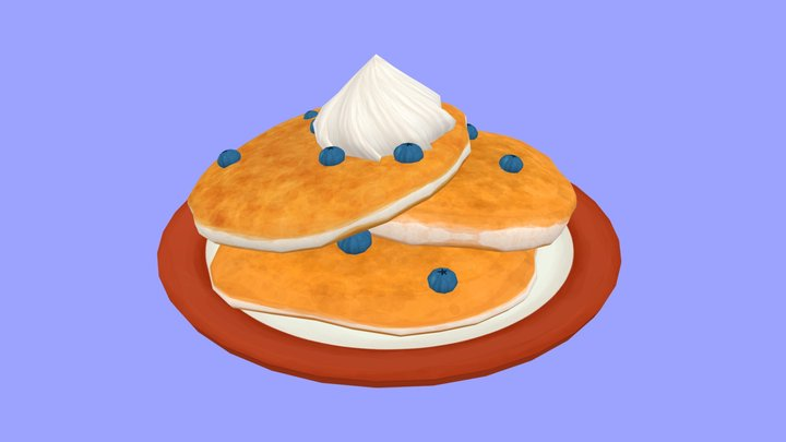 Hand-Painted Pancakes 3D Model