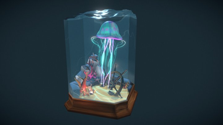 Jellyfish Diorama 3D Model