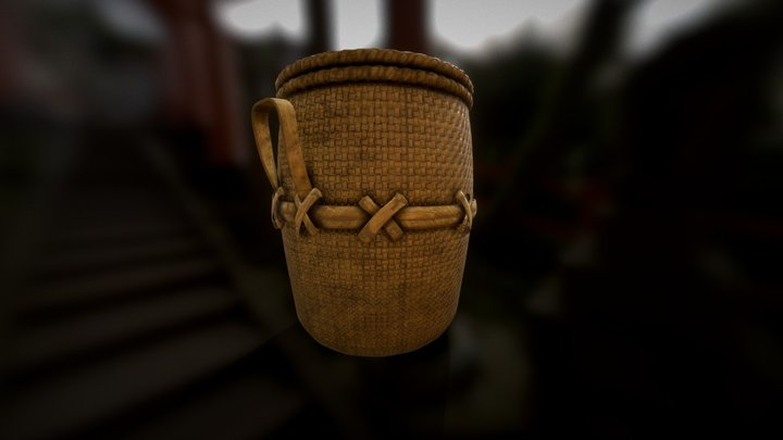 Old Woven Bamboo Basket 1 | Game Ready | 3D Model