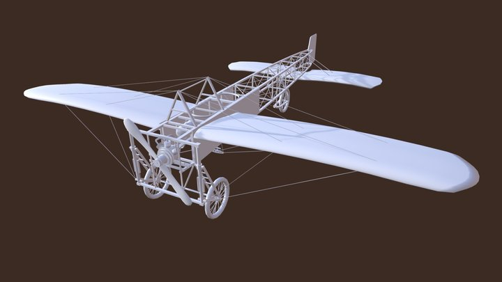Bleriot XI - white shade 3D Model