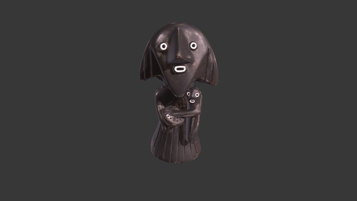 Wooden Mother and Child 3D Model