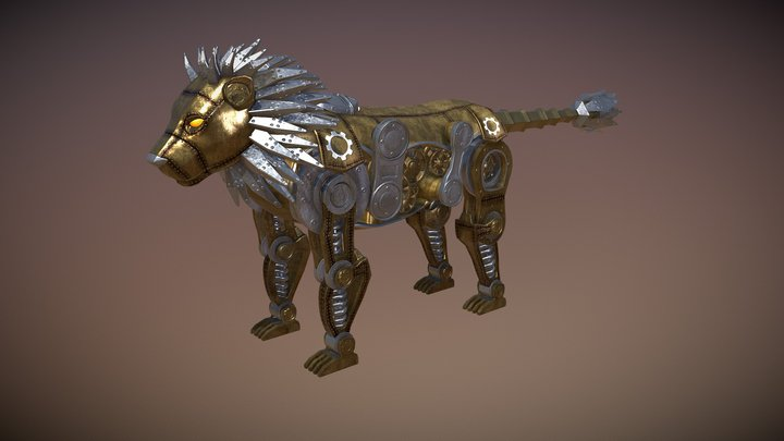 Steampunk Lion 3D Model