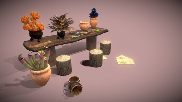 Botanical table of wizard school 3D Model