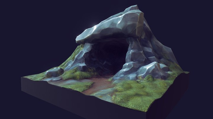 Cave in forest 3D Model