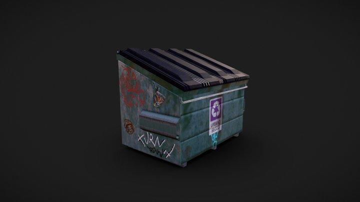 Old Dumpster Low Poly 3D Model