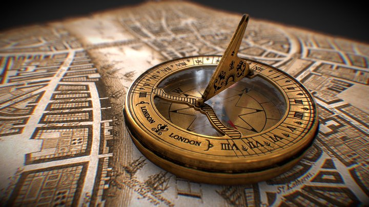Antique Sundial cum compass 3D Model