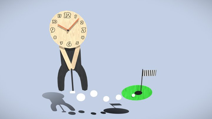 Golf clock on wall (LP) 3D Model
