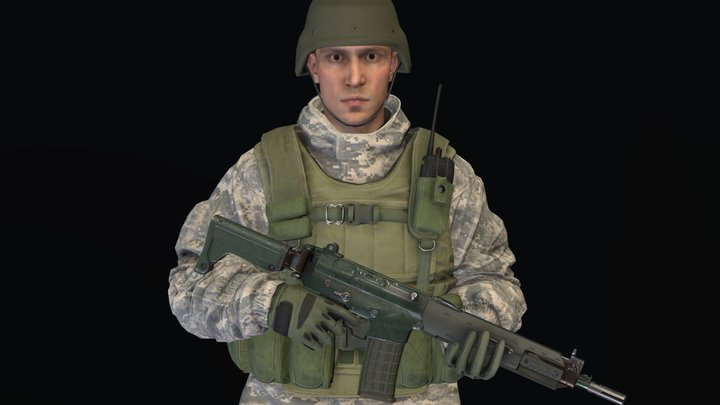 Male Soldier (Animated) 3D Model