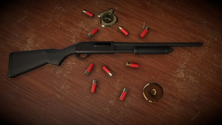 Remington 870 Shotgun Presentation 3D Model