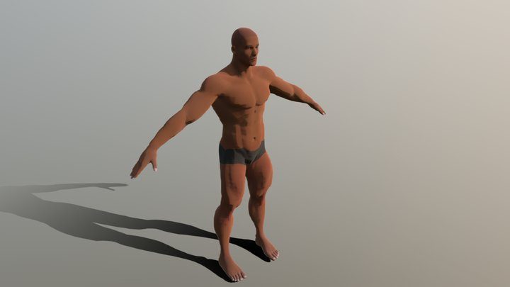 Giant Muscled Caucasian Male, Rigged 3D Model
