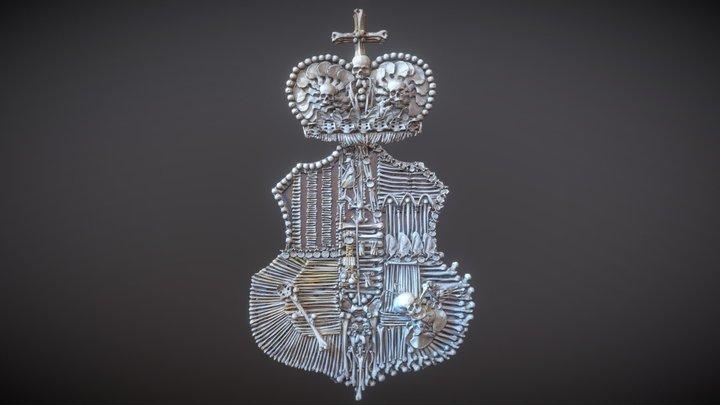 Sedlec Ossuary Skull and Bone Coat of Arms 3D Model