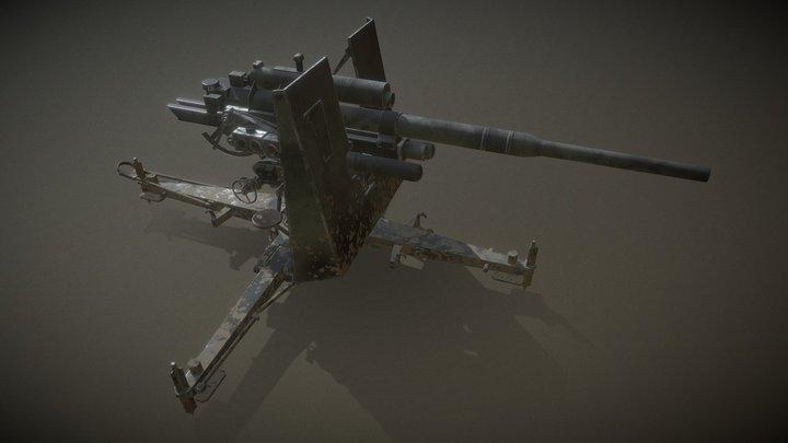Anti-aircraft gun 8.8 cm Flak 18 3D Model