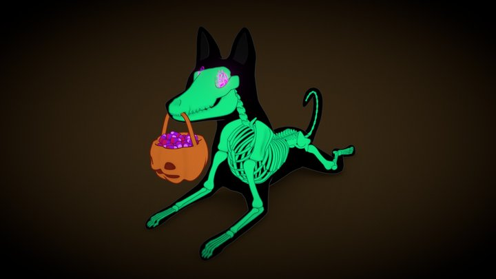 Hallowen X-Ray Dog 3D Model