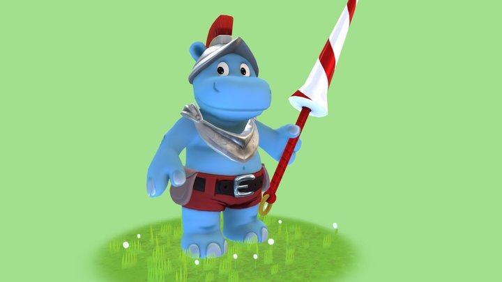 Cartoon hippopotamus fighter 3D Model