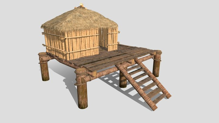 Bamboo Beach Hut with thatched roof 3D Model