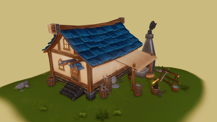 Game Art - Blacksmith's House 3D Model