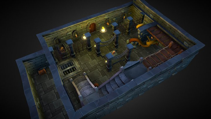Fantasy, Lowopoly, Modular Underground 3D Model