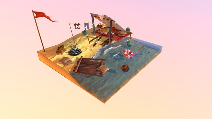 Lowpoly Shipwrecked Camp 3D Model