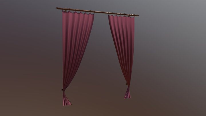 Curtains With Rod 01 3D Model