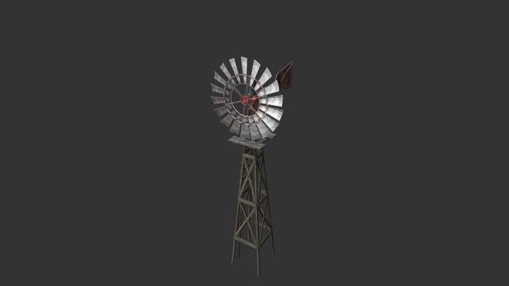Old Western Windpump 3D Model